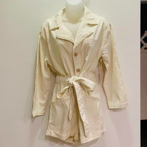 NWT The Collected Cream Canvas Artists Romper